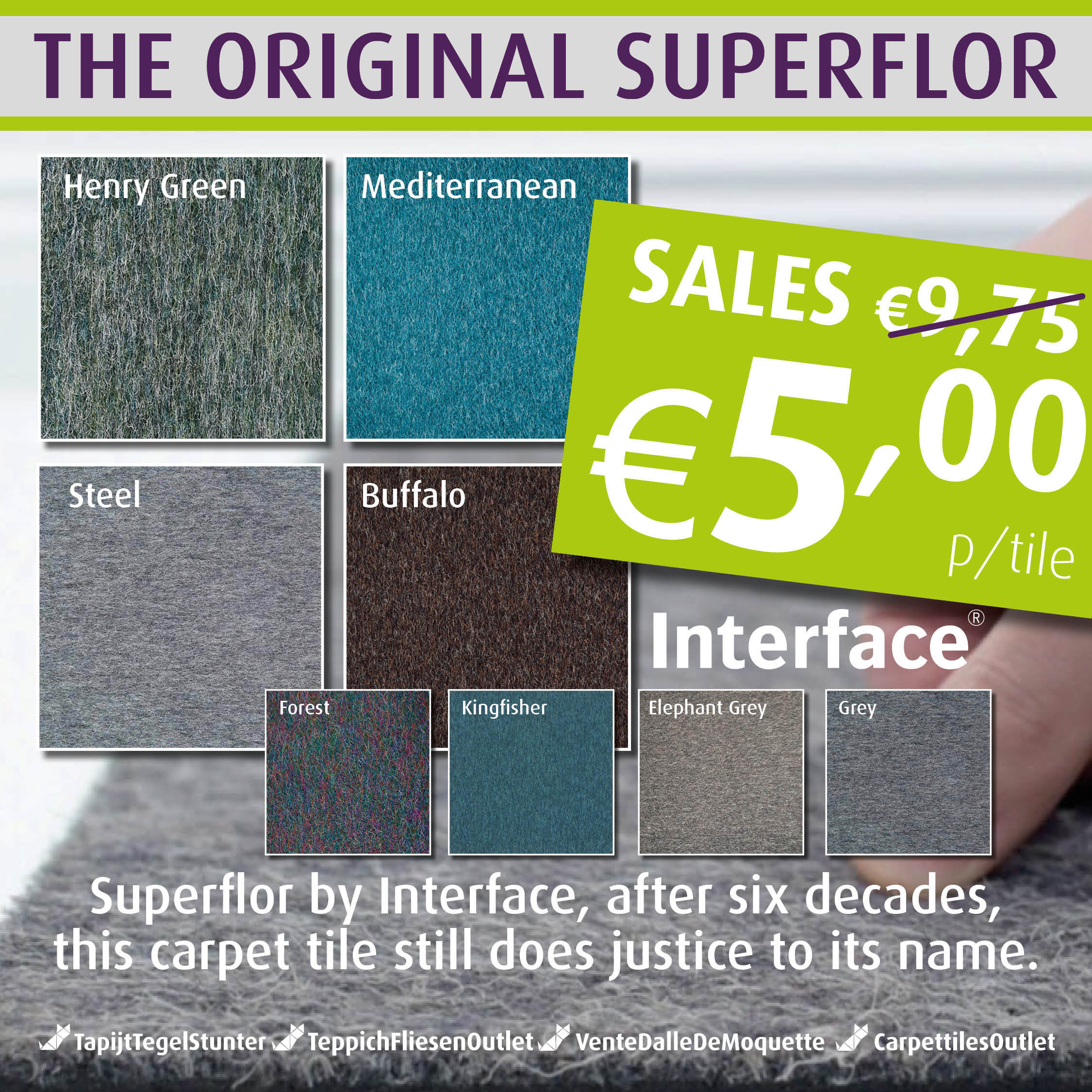 Looking for Interface carpet tiles? Superflor in the color Elephant Grey is an excellent choice. View this and other carpet tiles in our webshop.